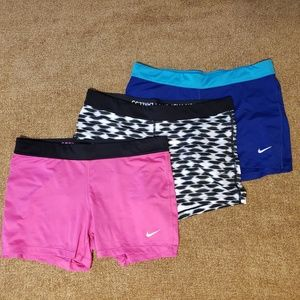 Lot of 3 Nike compression shorts
